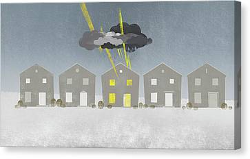 A Row Of Houses With A Storm Cloud Over One House Canvas Print by Jutta Kuss