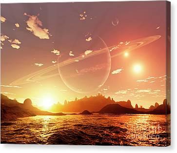 Stellar Canvas Print - A Scene On A Distant Moon Orbiting by Brian Christensen
