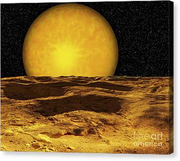 A Scene On A Moon Of Upsilon Andromeda Canvas Print by Ron Miller