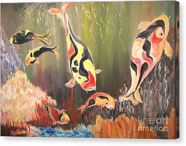 A School Of Koi Canvas Print by Rachel Carmichael