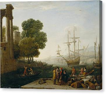 A Seaport At Sunset Canvas Print by Claude Lorrain