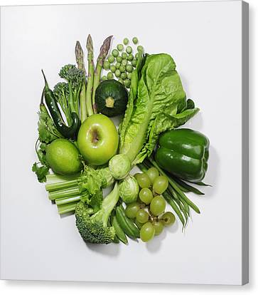 A Selection Of Green Fruits & Vegetables Canvas Print by David Malan