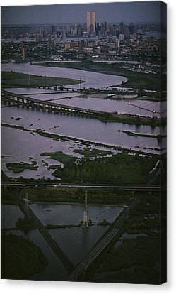 A Shot Of The Meadowlands And The New Canvas Print by Melissa Farlow
