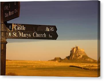 A Sign Post Pointing To A Castle And Canvas Print by John Short