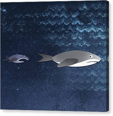 A Small Fish Chasing A Shark Canvas Print by Jutta Kuss
