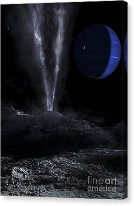 A Small Geyser On The Surface Canvas Print by Fahad Sulehria
