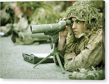 A Sniper Practices Observation Canvas Print by Stocktrek Images