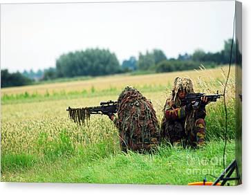 A Sniper Unit Of The Paracommandos Canvas Print by Luc De Jaeger