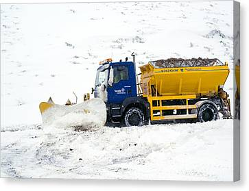 A Snow Plough Clearing A Road Canvas Print by Duncan Shaw