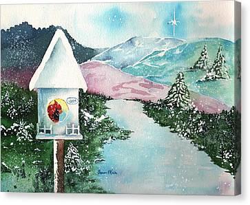 A Snowy Cardinal Day - Christmas Card Canvas Print by Sharon Mick