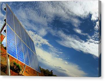A Solar Panel In The Desert Of South Canvas Print by Brooke Whatnall