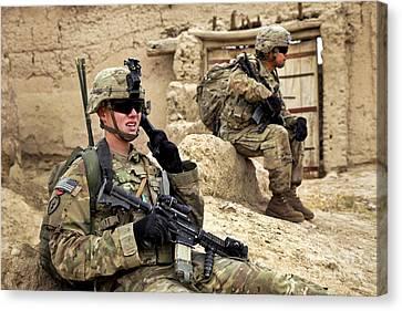 A Soldier Calls In Description Canvas Print
