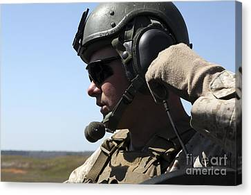 A Soldier Keeps In Radio Contact Canvas Print by Stocktrek Images