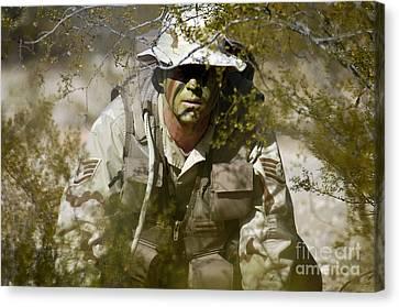 A Soldier Practices Evasion Maneuvers Canvas Print by Stocktrek Images