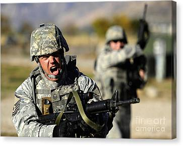 A Soldier Shows His Emotions Canvas Print by Stocktrek Images