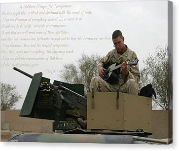 A Soldiers Prayer For Compassion Canvas Print by Dennis Welch