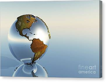 A Sphere Holding North And South Canvas Print by Corey Ford