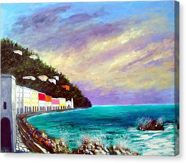 Canvas Print featuring the painting A Splash Of The Mediterranean  by Larry Cirigliano