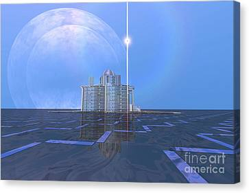 A Star Shines On Alien Architecture Canvas Print by Corey Ford