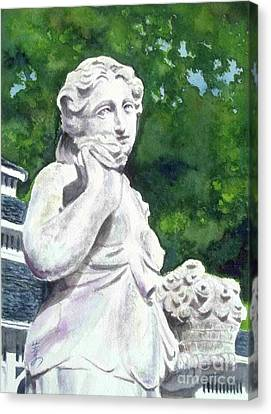 Canvas Print featuring the painting A Statue At The Wellers Carriage House -1 by Yoshiko Mishina