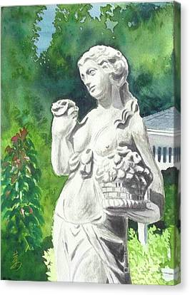 Canvas Print featuring the painting A Statue At The Wellers Carriage House -2 by Yoshiko Mishina