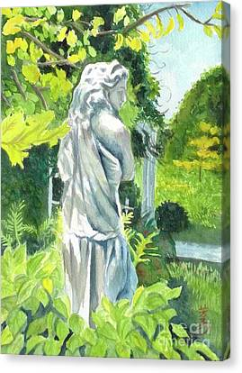 Canvas Print featuring the painting A Statue At The Wellers Carriage House -3 by Yoshiko Mishina