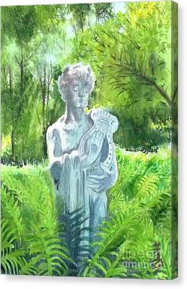 Canvas Print featuring the painting A Statue At The Wellers Carriage House -4 by Yoshiko Mishina