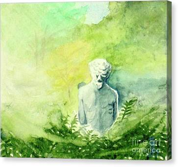 Canvas Print featuring the painting A Statue At The Wellers Carriage House -5 by Yoshiko Mishina