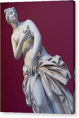 A Statue Of Aphrodite At The Acropolis Canvas Print by Richard Nowitz