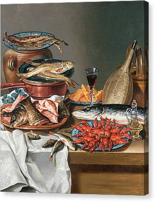 Glass Of Wine Canvas Print - A Still Life Of A Fish Trout And Baby Lobsters by Anton Friedrich Harms