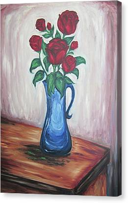 A Still Life Of Red Roses Canvas Print