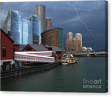 A Storm In Boston Canvas Print