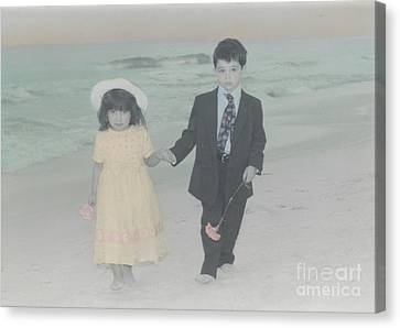 Canvas Print featuring the photograph A Stroll On The Beach by Lori Mellen-Pagliaro