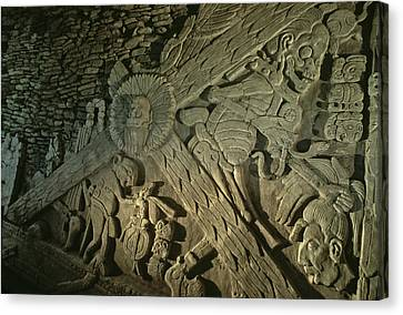 Mayan Character Canvas Print - A Stucco Mural Showing The Maya Turtle by Kenneth Garrett