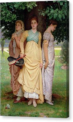Racquet Canvas Print - A Summer Shower by Charles Edward Perugini