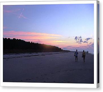 Canvas Print featuring the photograph A Sunrise Stroll On The Beach by Frank Wickham