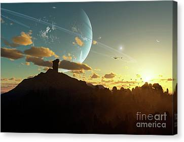 A Sunset On A Forested Moon Which Canvas Print by Brian Christensen