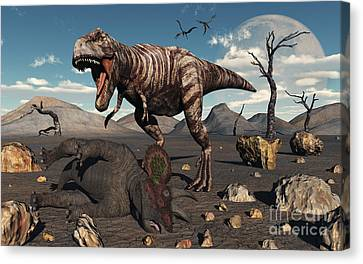 A T. Rex Is About To Make A Meal Canvas Print by Mark Stevenson