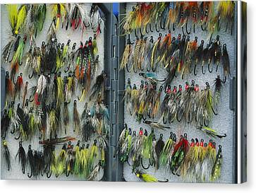 A Tackle Box Full Of Colorful Flies Canvas Print by Bill Curtsinger