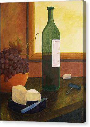 Still Life Of Wine And Grapes Canvas Print - A Taste Of Autumn by Stephanie Conroy