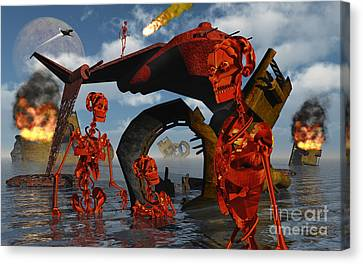 A Team Of Androids Break Down Objects Canvas Print by Mark Stevenson