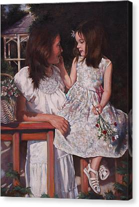 Canvas Print featuring the painting A Tender Touch by Harvie Brown