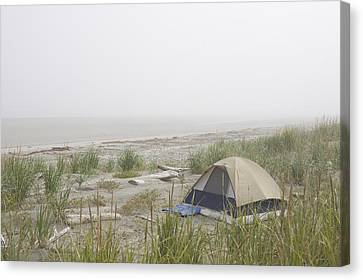 A Tent Sits In The Dunes By The Beach Canvas Print by Taylor S. Kennedy