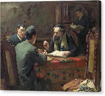 A Theological Debate Canvas Print by Eduard Frankfort