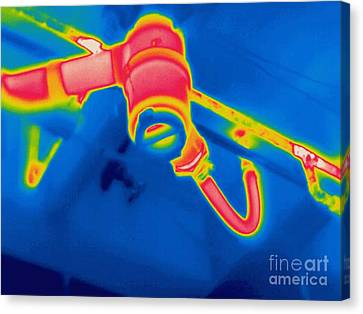A Thermogram Of A Sink Drain Canvas Print by Ted Kinsman