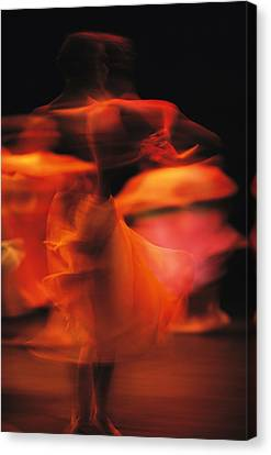 A Time-exposed View Of A Performance Canvas Print by Michael Nichols