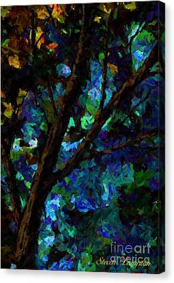 Canvas Print featuring the painting A Touch Of Blue by Steven Lebron Langston