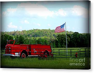 Canvas Print featuring the photograph A Tribute To The Fireman by Kathy  White