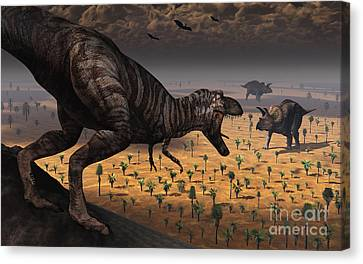 A Tyrannosaurus Rex Spots Two Passing Canvas Print by Mark Stevenson