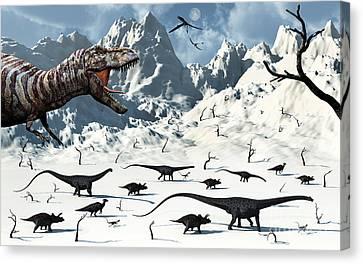 A  Tyrannosaurus Rex Stalks A Mixed Canvas Print by Mark Stevenson